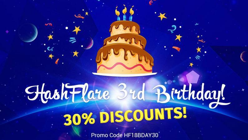 Hashflare cupón descuento del 30% por su tercer aniversario en 2018