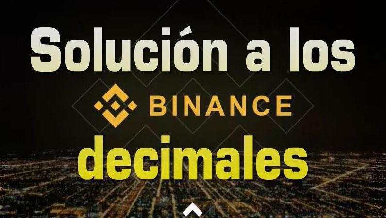 Solución decimales Binance