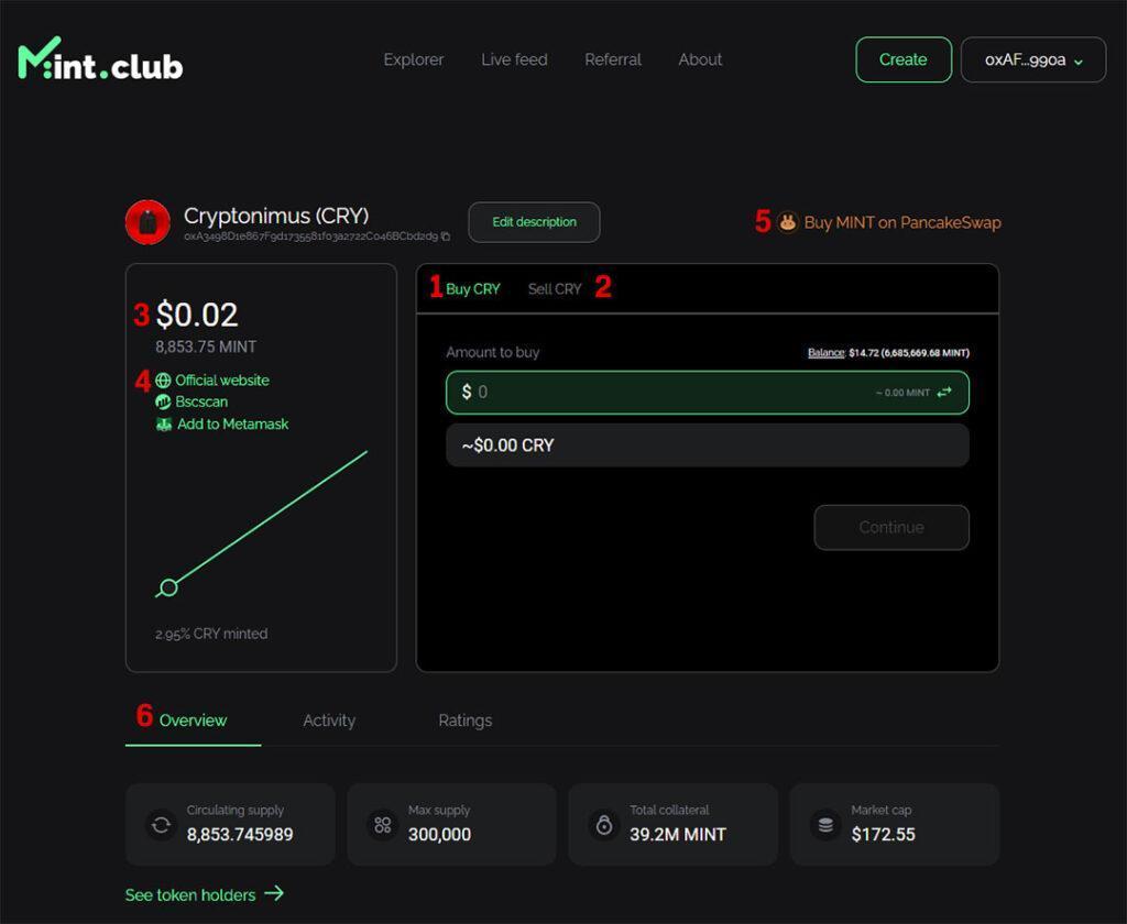 comprar y vender token en mint club